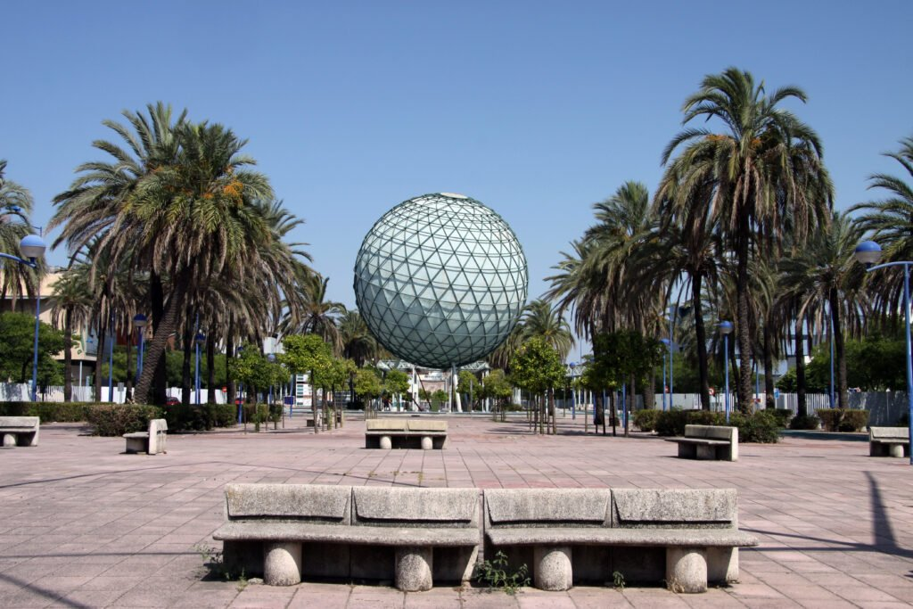 A plaza and geodome on the Expo '92 Grounds in Seville, Spain