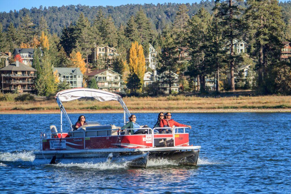 A pontoon boat on Big Bear Lake.