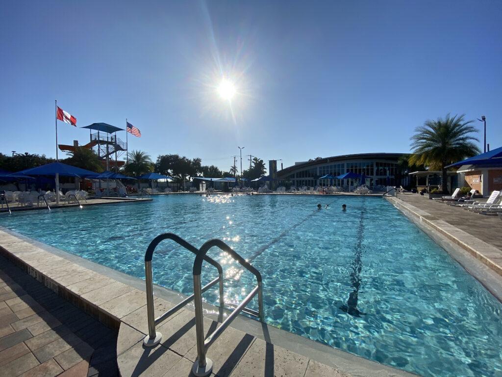 A pool at an RV Resort.