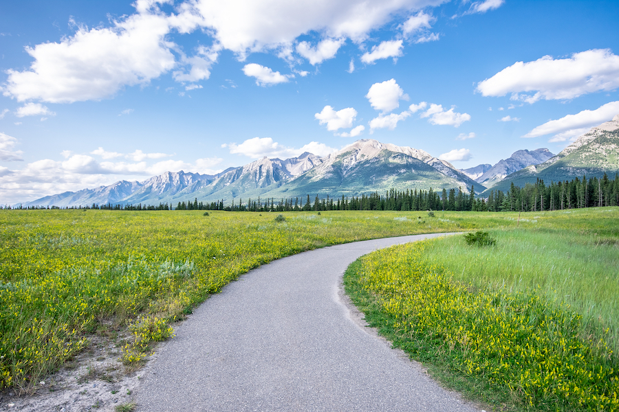 A portion of the Trans Canada Trail in Canmore, Alberta.