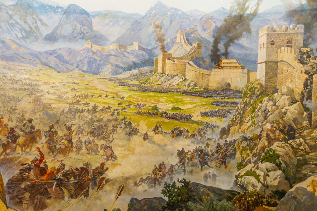 A portrait of the Huns attacking the Great Wall of China