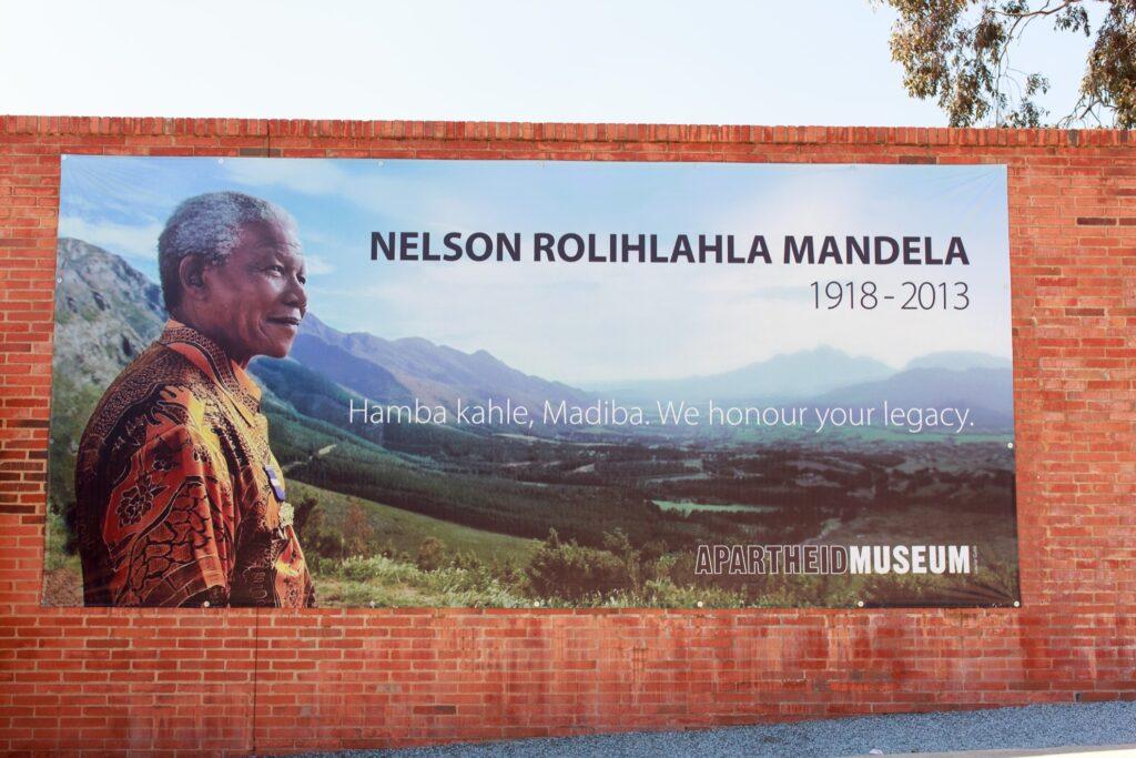 A poster honoring Nelson Mandela.