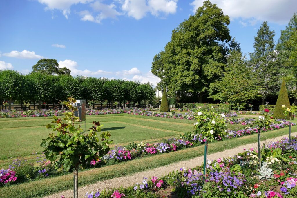 A public garden in Bourges, France.
