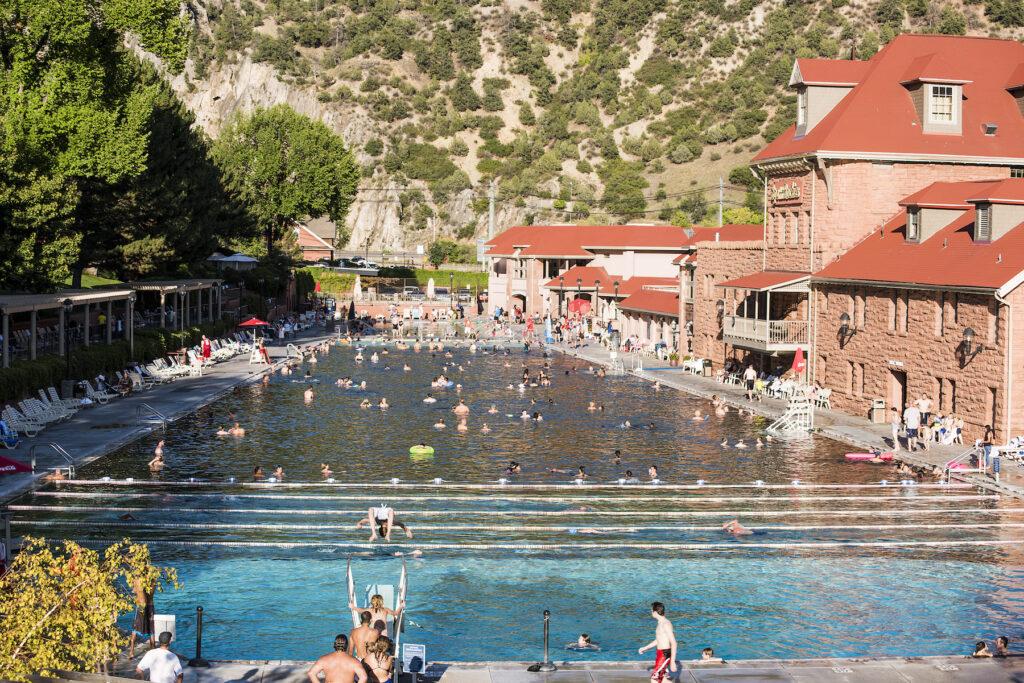 A public hot springs pool in Glenwood Springs, Colorado.