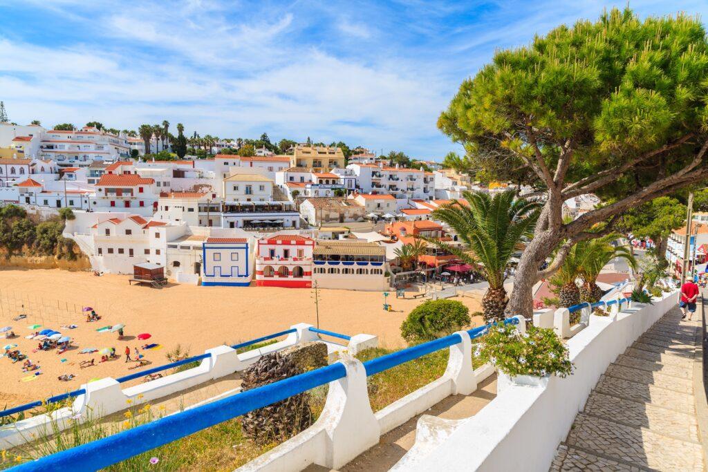 A quaint fishing town in the Algarve region.
