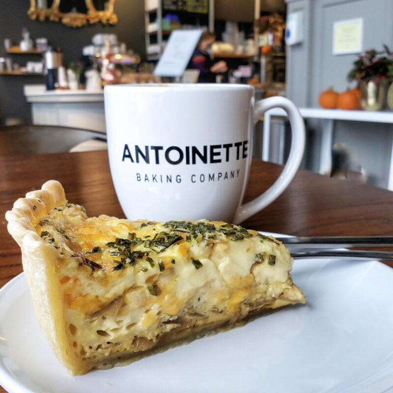 A quiche and coffee from Antoinette Baking Co. in Tulsa.