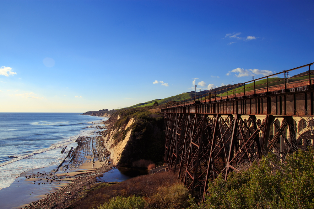 A railroad bridge along the pacific coastline near Santa Barbara, California