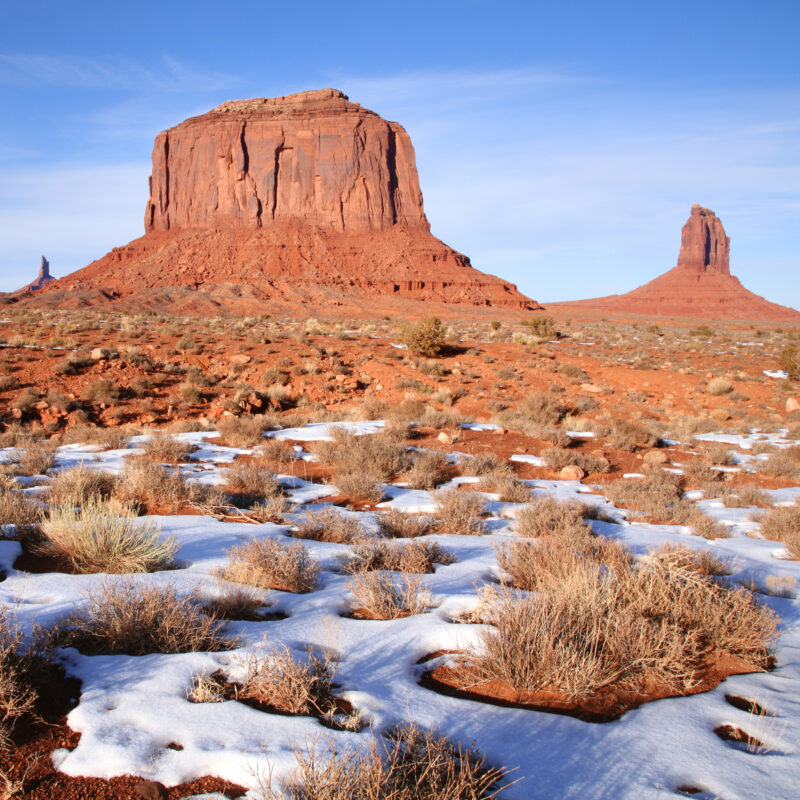 A rare snowfall during winter at Monument Valley in Arizona.