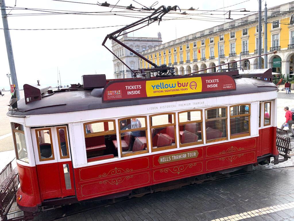 A red tram in Lisbon.
