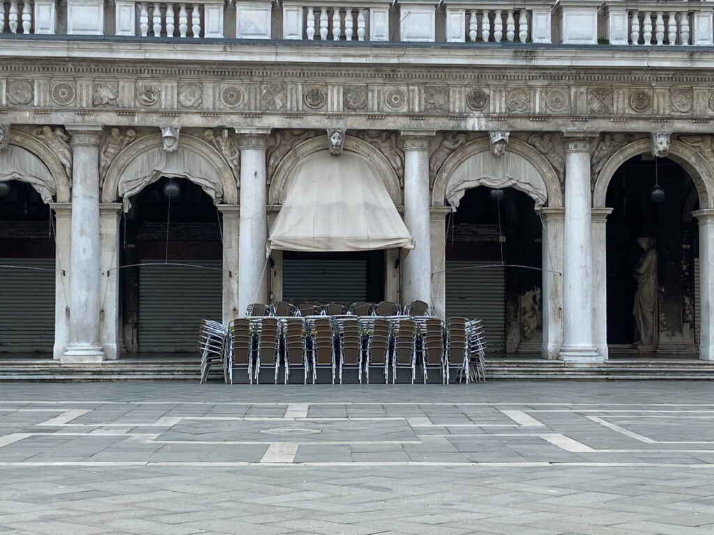 A restaurant in Venice, closed for business.