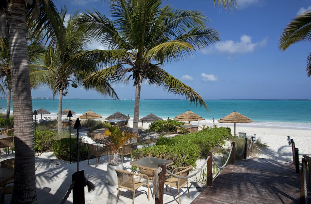 A restaurant on the beach in the Turks and Caicos.