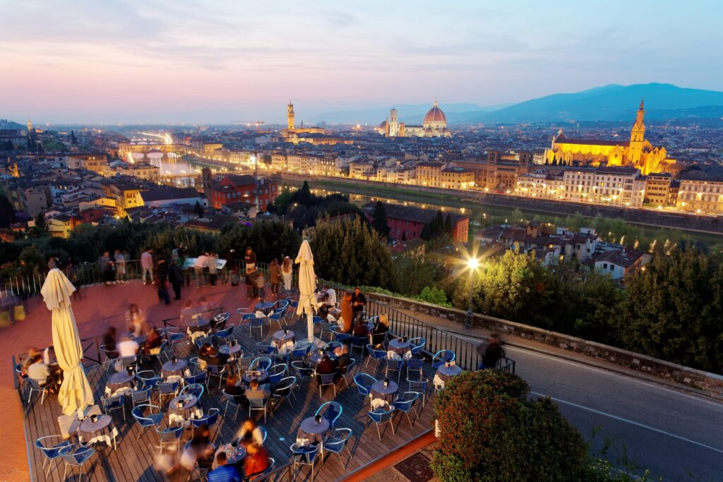 A restaurant overlooking Florence, Italy.