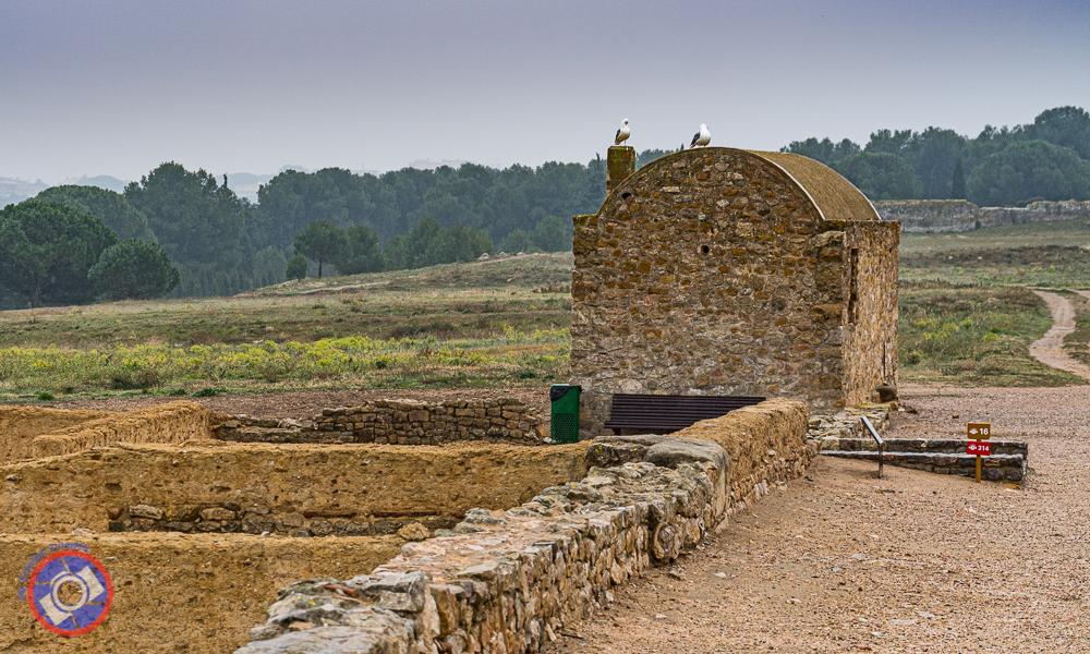 A restored Roman building.