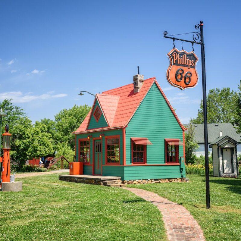 A restored vintage gas station.