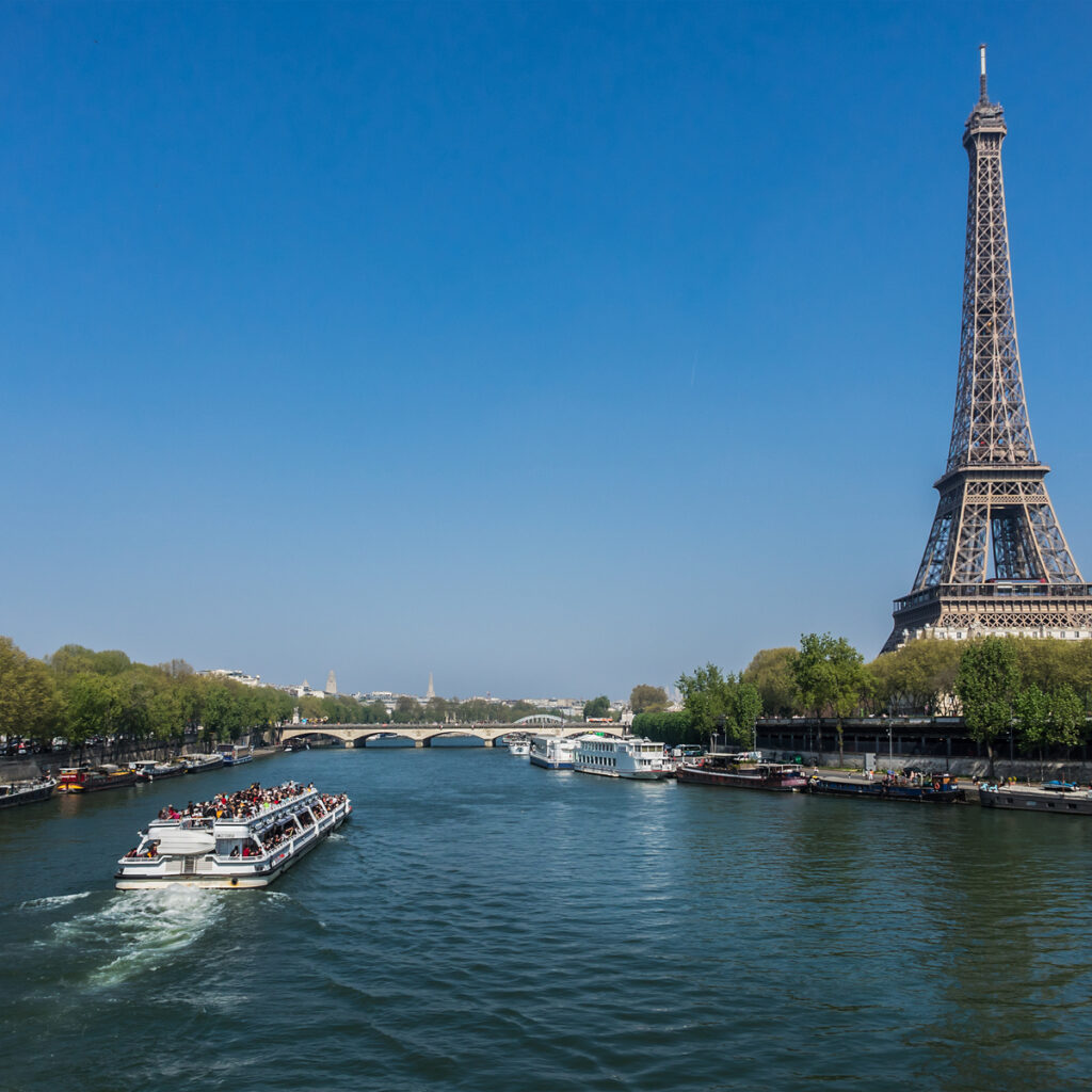 A river cruise by Bateaux Mouches in Paris.