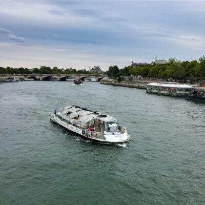 A river cruise by Batobus in Paris, France.