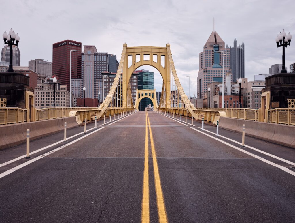 A road in downtown Pittsburgh.