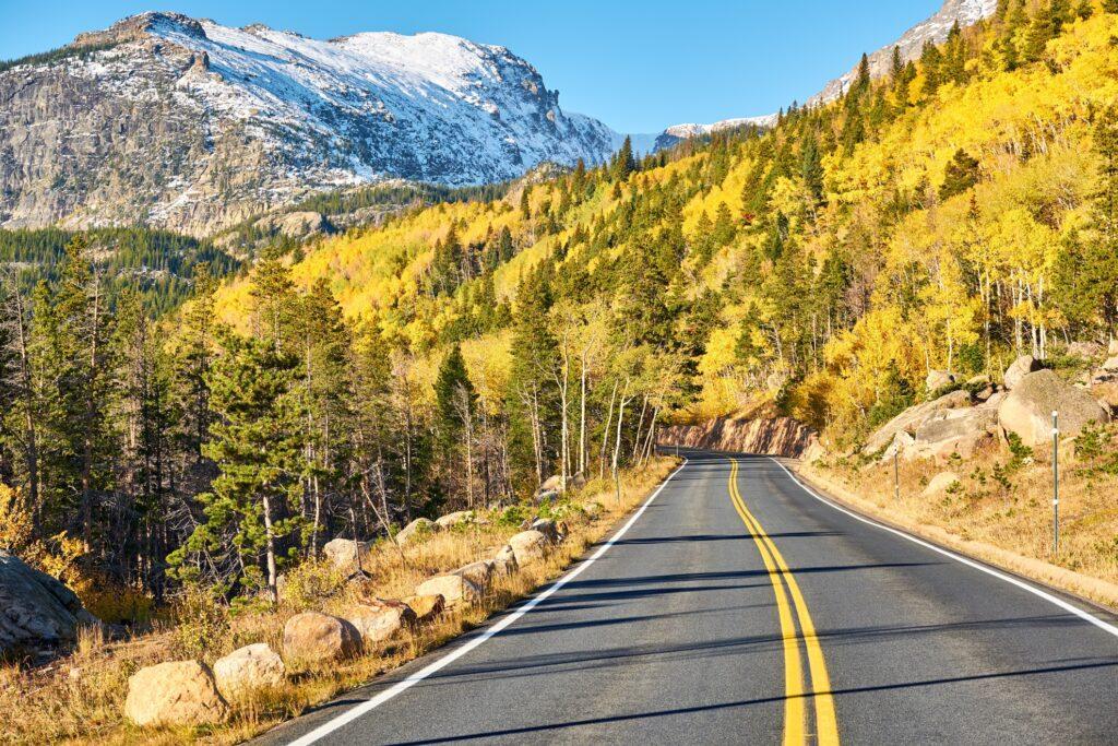 A road through Colorado's Rocky Mountain Park.