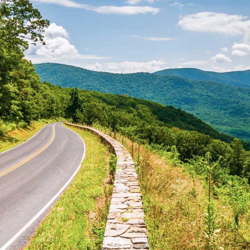 A road through Shenandoah National Park in Virginia.