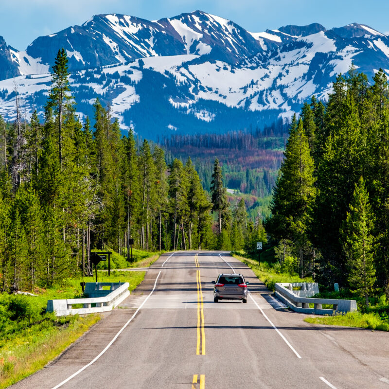 A road trip through the mountains.