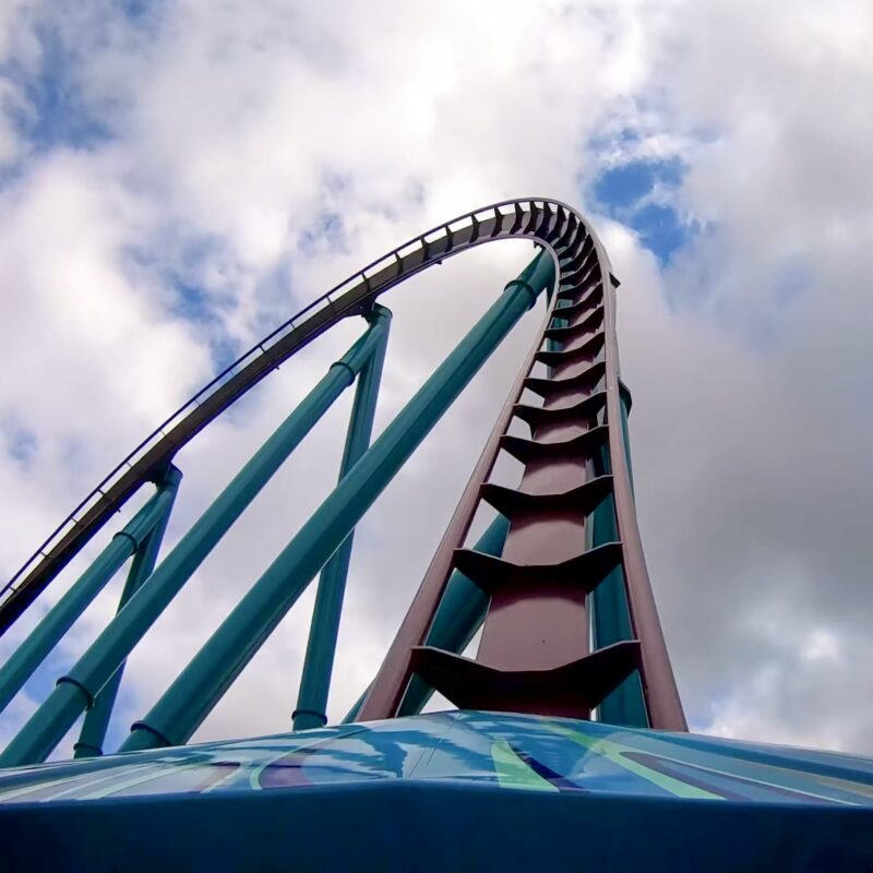 A roller coaster at Six Flags.