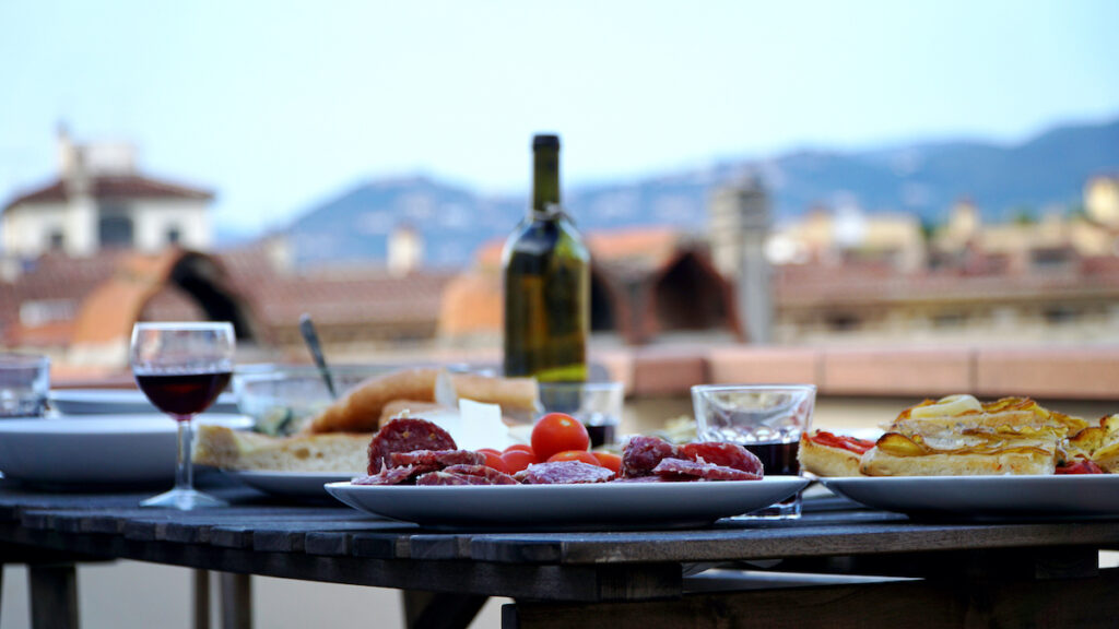 A romantic dinner for two in Florence, Italy.