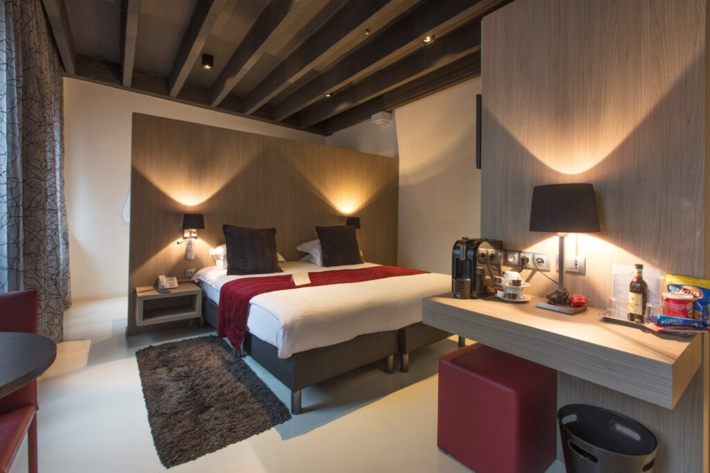A room at Hotel de Flandre in Ghent.