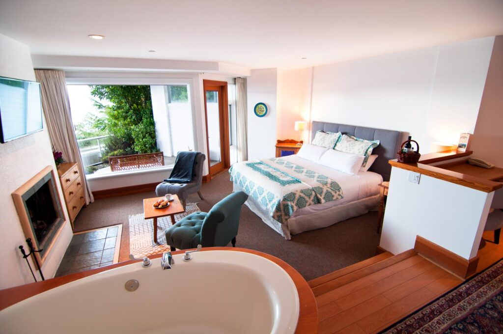A room at Sooke Harbour House on Vancouver Island.