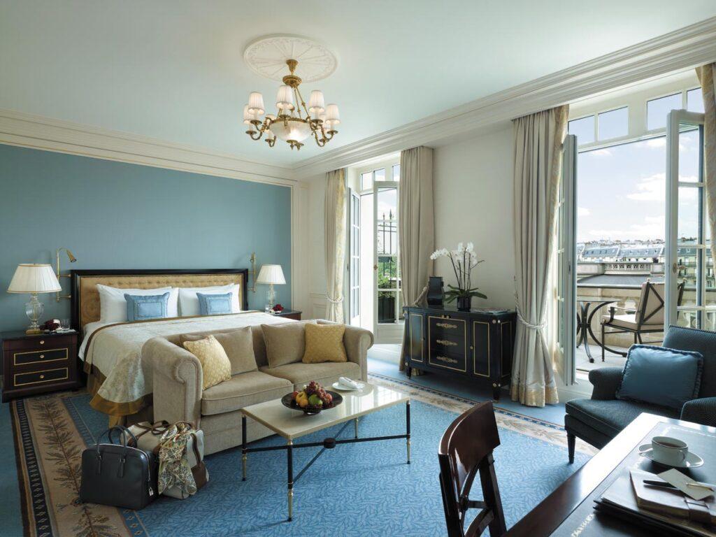 A room at the Shangri La hotel in Paris.