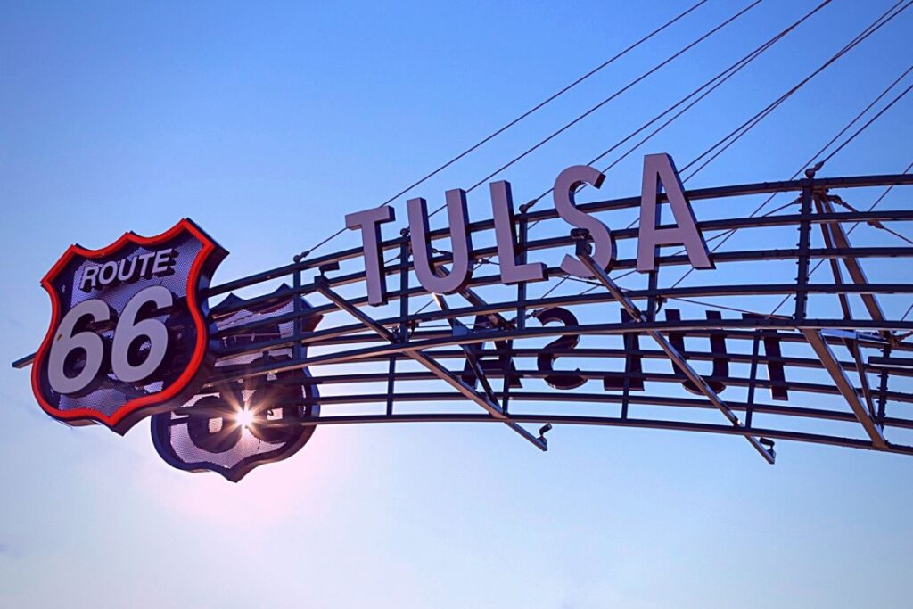 A Route 66 sign in Tulsa, Oklahoma.