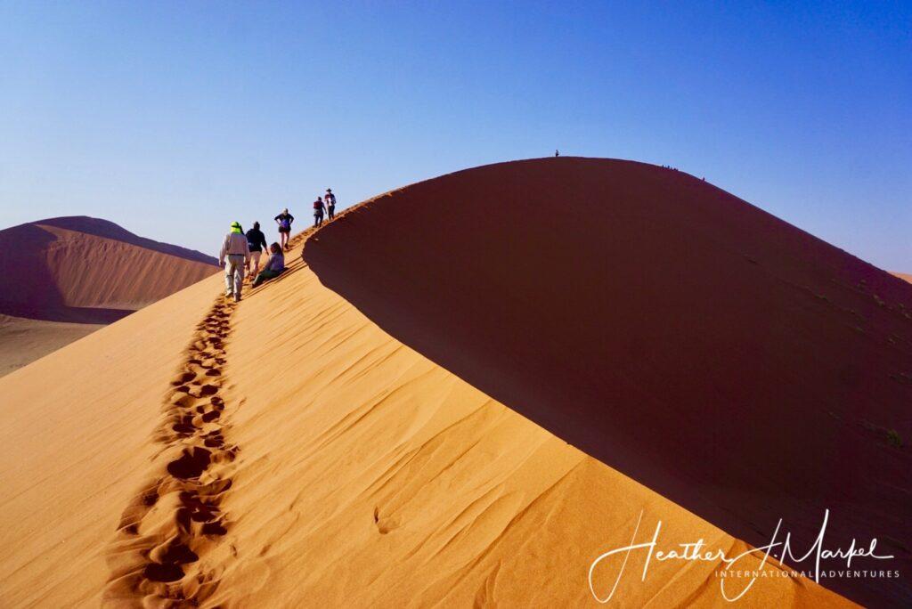 A safari tour crossing sand dunes in Africa.