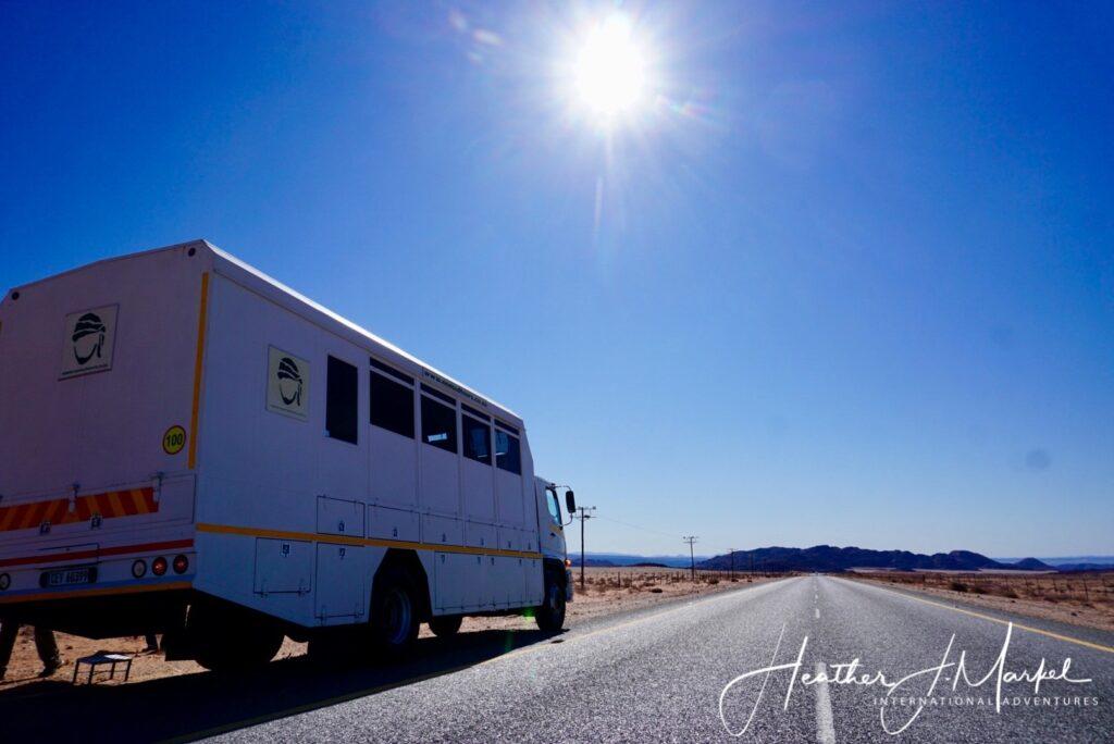 A safari truck in Africa.