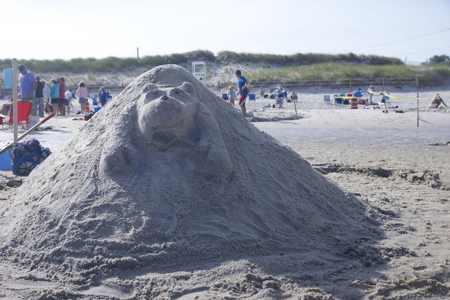 A sand sculpture on Mayflower Beach in Cape Cod.
