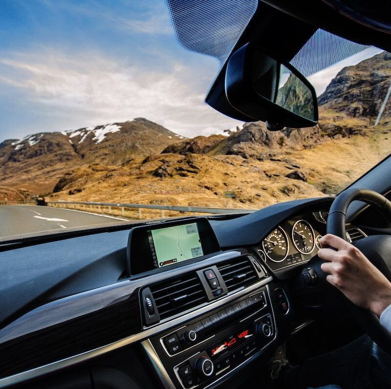 A scenic drive through the Scottish Highlands.