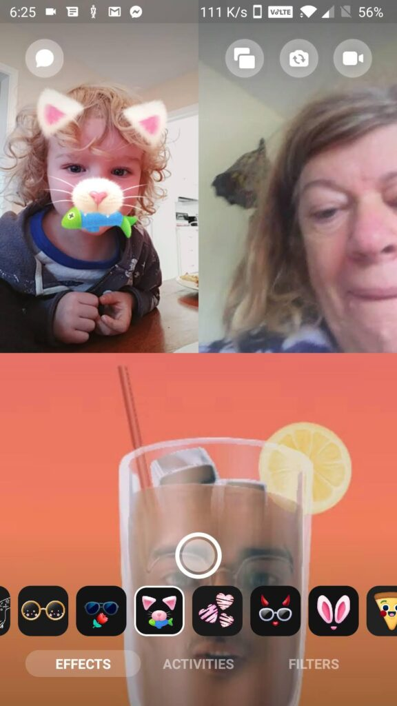 A screenshot of a video call on the writer's phone.