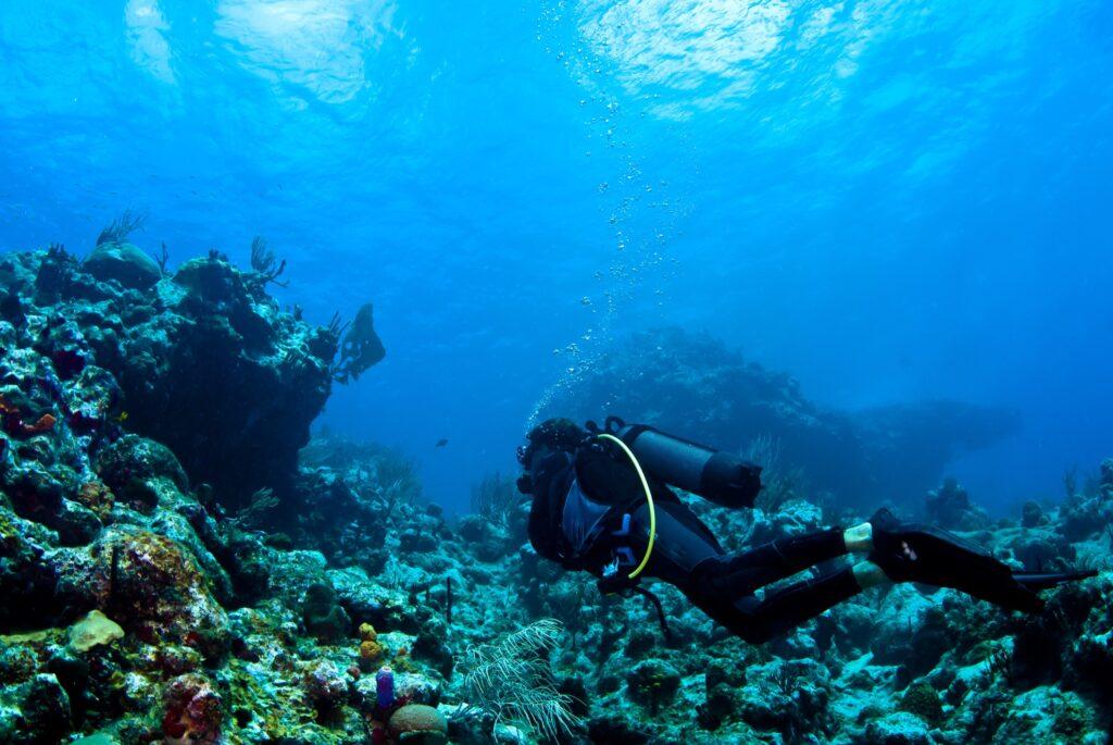 A scuba diver off the coast of St. Barts.