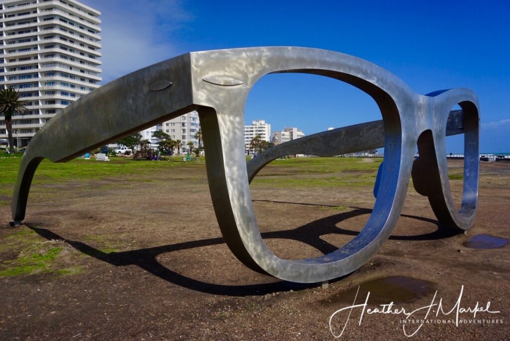 A sculpture of Nelson Mandela's glasses in Cape Town.