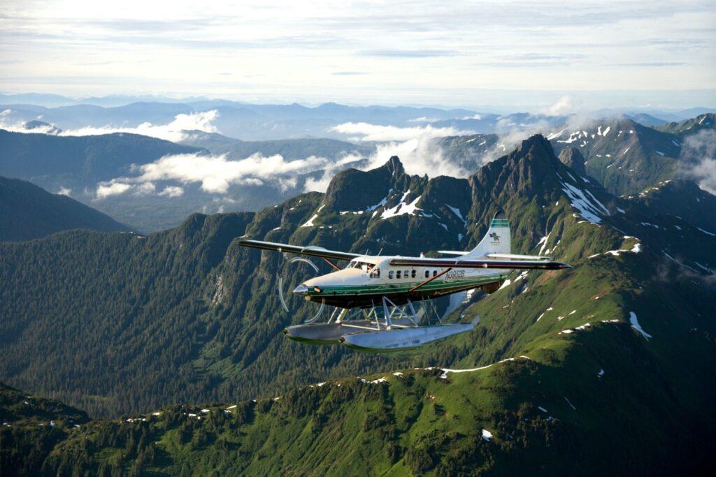 A sea plane headed to Steamboat Bay Fishing Club.