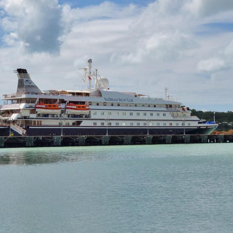A SeaDream Yacht Club cruise ship.