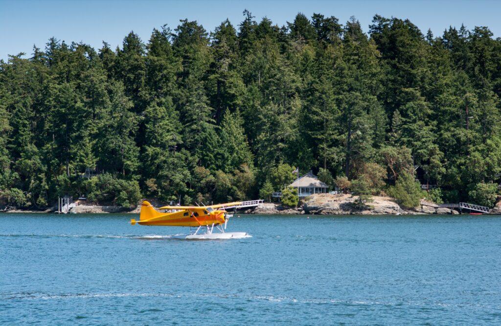 A seaplane landing off the coast of Washington.