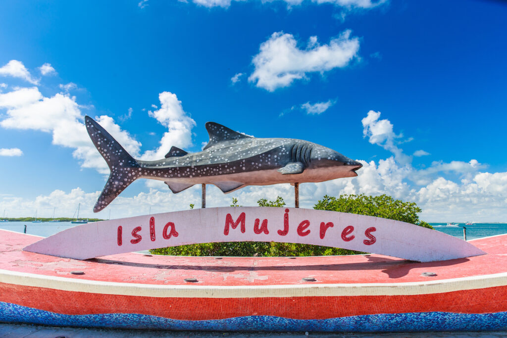 A shark on a sign at Isla Mujeres.