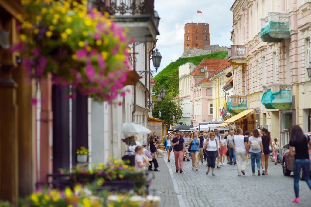 A shopping area in Old Town Vilnius.