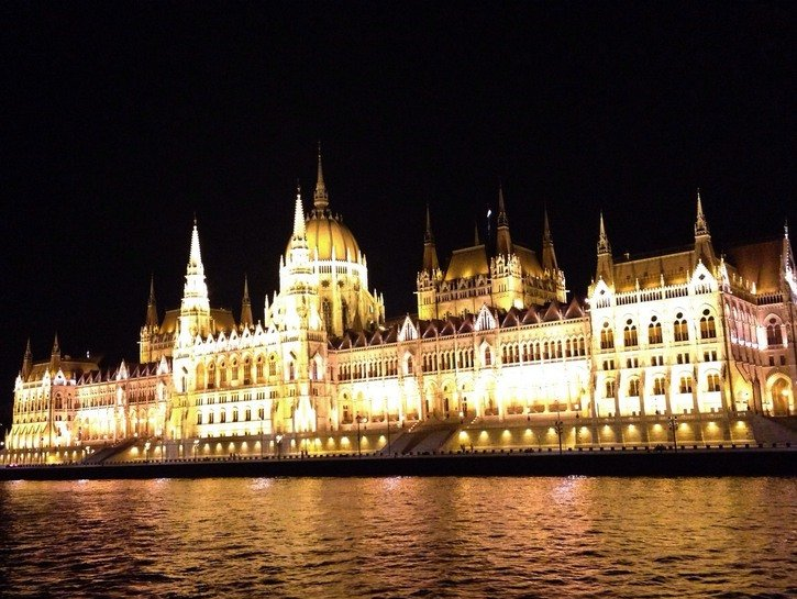 A shot of the Hungarian Parliament Building lit up at night