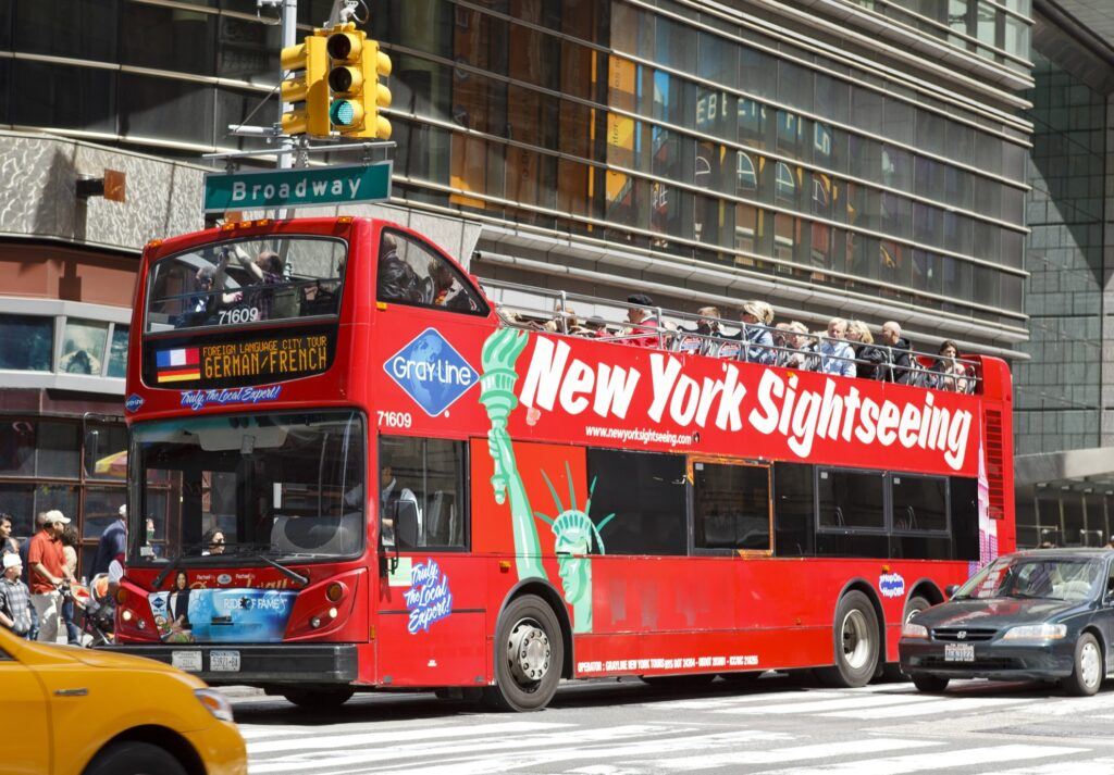 A sightseeing bus in New York City.
