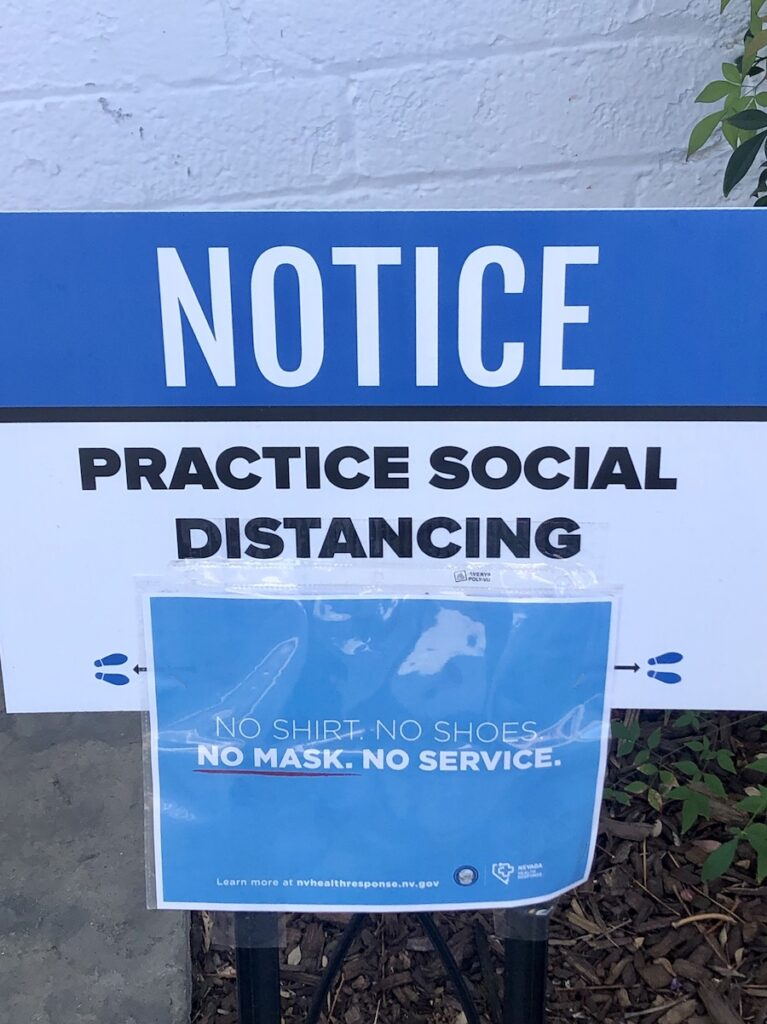 A sign about social distancing in Nevada.