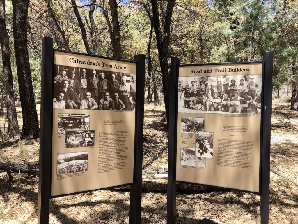 A sign about the CCC near Chiricahua National Monument.