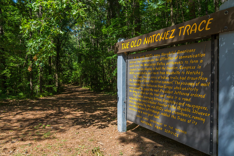 A sign about the Old Natchez Trace route.