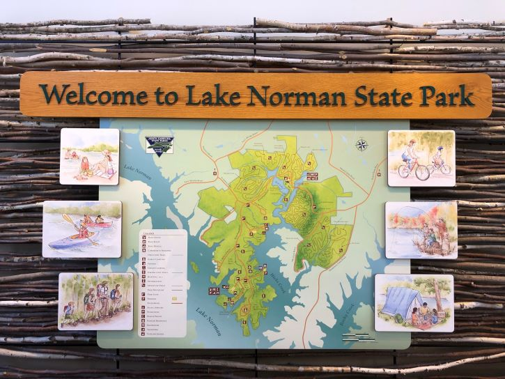 A sign at the Visitor's Center at Lake Norman State Park.