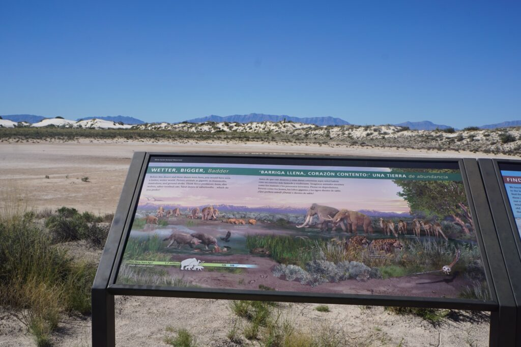 A sign at the White Sands National Park.