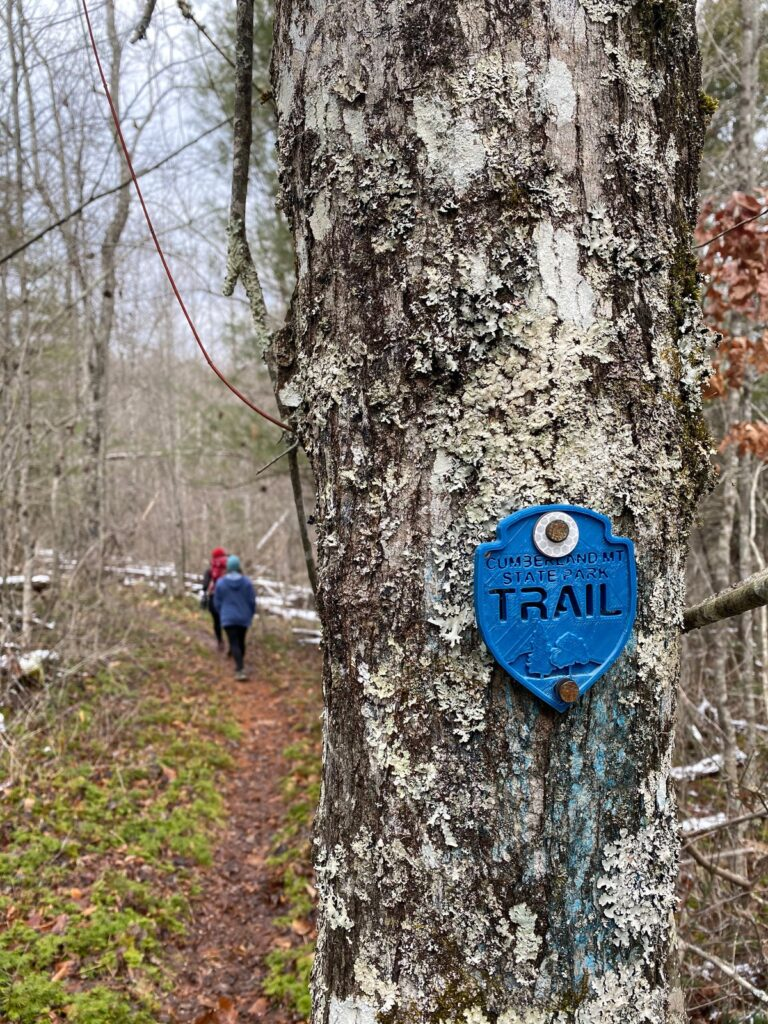 A sign for a trail in Cumberland State Park.